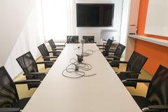 Interior of meeting room in moder office stock images