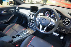Interior of Mercedes-Benz CLA45AMG at the Singapore Motorshow 2015 Royalty Free Stock Images