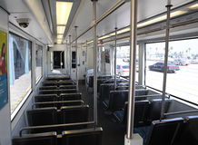 Interior of Metro Gold Line Train. PASADENA, CA - JUNE 29:  The interior of an empty Gold Line train waiting at the Sierra Madre Station in Pasadena in between Stock Photography