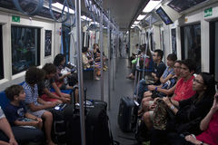 Interior of metro (MRT) train Stock Photos