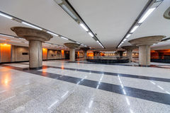 Interior of metro station. With marble hall and neon lights stock photo