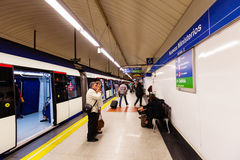 Interior of metro station Nuevos Ministerios in Madrid, Spain Stock Images