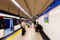 Interior of metro station Nuevos Ministerios in Madrid, Spain. MADRID, SPAIN - APRIL 26: Interior of metro station Nuevos Ministerios in April 26, 2013 in Madrid Stock Images