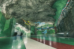 Interior of metro station in Stockholm, Sweden Royalty Free Stock Photo