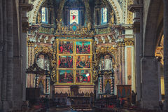 Interior of Metropolitan Cathedral in Valencia Royalty Free Stock Photography
