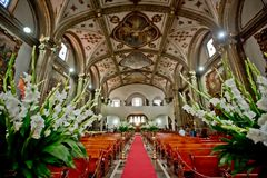 The interior of Mexican Church in Mexico city. The red carpet and interior of Mexican Church in Mexico city Stock Images