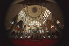 Interior of Mihrimah Sultan Mosque in Istanbul Royalty Free Stock Photography