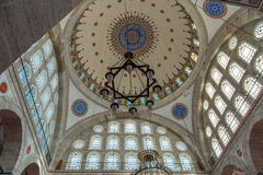 Interior of Mihrimah Sultan Mosque in Istanbul Royalty Free Stock Image