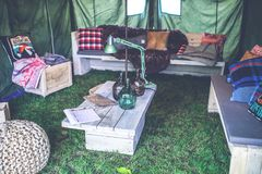Interior of military tent Royalty Free Stock Photography