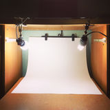 Home photo studio with lamps and lights blub Royalty Free Stock Image