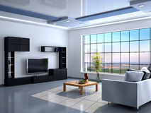 Interior in minimalist style with large window. Stock Photo