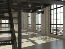 Interior minimalista blanco del desván Imágenes de archivo libres de regalías
