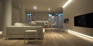 Interior minimalista branco (noite) Fotografia de Stock Royalty Free