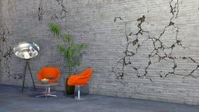 Interior minimalista com cadeiras e a parede rachada ilustração royalty free