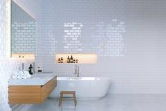 Interior minimalista de lujo del cuarto de baño con las paredes de ladrillo 3d rinden Imagen de archivo