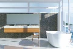 Interior minimalista del cuarto de baño del estilo con la ventana panorámica 3d ren Imagen de archivo libre de regalías