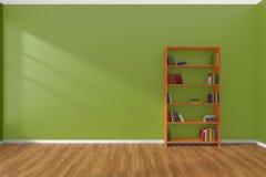 Interior minimalista del sitio verde vacío con el estante para libros ilustración del vector