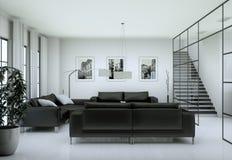 Interior minimalista moderno de la sala de estar en estilo del diseño del desván con los sofás imagen de archivo