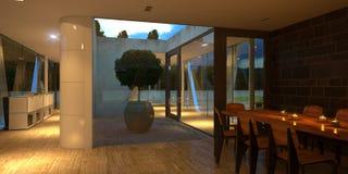 Interior minimalista no crepúsculo com velas Fotografia de Stock Royalty Free