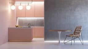 Interior minimalistic rosado de la cocina Fotografía de archivo libre de regalías