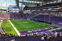 Interior of Minnesota Vikings US Bank Stadium in Minneapolis. MINNEAPOLIS, MN, USA - JULY 24 2016: Interior of Minnesota Vikings US Bank Stadium in Minneapolis Stock Photography