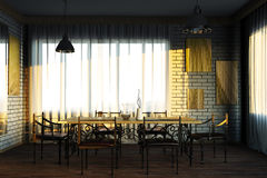 The interior in the mixed style. 3d illustration Stock Photo