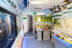 Interior of the mobile exhibition and lecture complex of Russian Royalty Free Stock Image