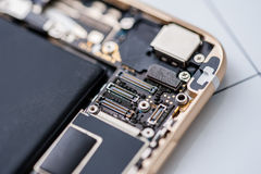 Interior of mobile phone components Royalty Free Stock Image
