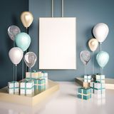 Interior mock up scene with blue and gold gift boxes and balloons. Realistic glossy 3d objects for birthday party or promo posters. Or banners. Empty space for Royalty Free Stock Photos