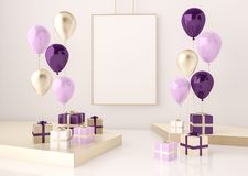 Interior mock up scene with purple and gold gift boxes and balloons. Realistic glossy 3d objects for birthday party or promo posters or banners. Empty space Stock Photography