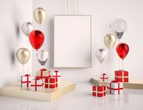 Interior mock up scene with red and gold gift boxes and balloons. Realistic glossy 3d objects for birthday party or promo posters. Or banners. Empty space for vector illustration