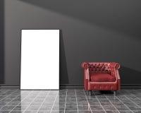 Interior mockup. Blank poster vector illustration