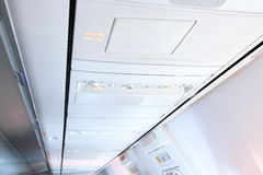 Interior of modern airplane. Stock Photos