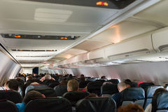 Interior of a modern airplane Royalty Free Stock Image