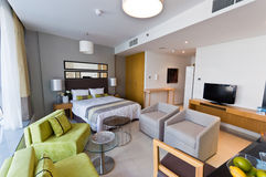 Interior of modern apartment. Bedroom & lounge Stock Photography