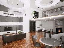 Interior of modern apartment 3d render Royalty Free Stock Images