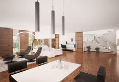 Interior of modern apartment 3d render Royalty Free Stock Image