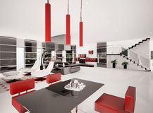 Interior of modern apartment 3d render Stock Photo