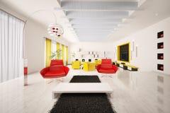 Interior of modern apartment 3d render. Interior of modern apartment living room 3d render Stock Photo
