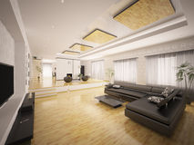 Interior of modern apartment 3d render. Interior of modern apartment with staircase and fireplace 3d render Royalty Free Stock Image