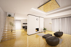 Interior of modern apartment 3d render Royalty Free Stock Photo