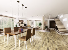 Interior of modern apartment 3d render Stock Image