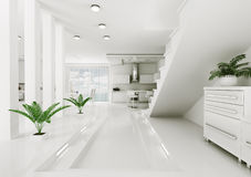 Interior of modern apartment 3d render Stock Photography