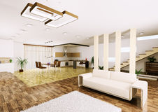 Interior of modern apartment 3d render Stock Images