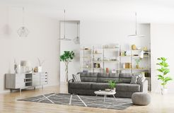 Interior of modern apartment 3d rendering Stock Photo