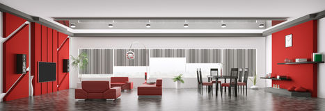 Interior of modern apartment panorama 3d render Stock Photography