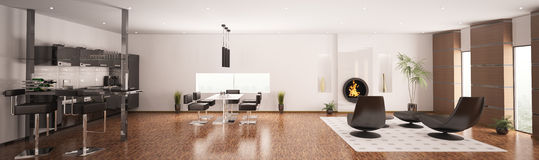Interior of modern apartment panorama 3d render Royalty Free Stock Photos
