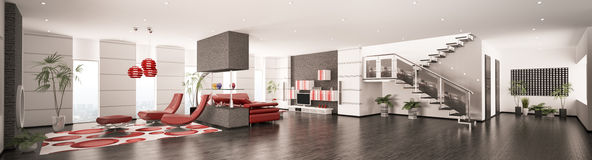 Interior of modern apartment panorama 3d render Stock Photos