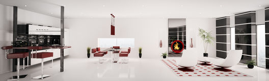 Interior of modern apartment panorama 3d render Royalty Free Stock Image