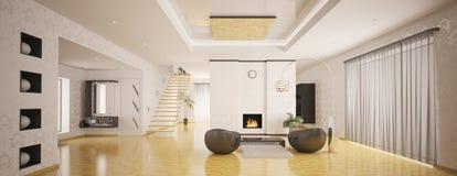 Interior of modern apartment panorama 3d render Stock Photography